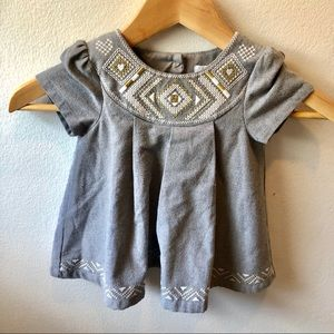 Tahari Baby gray occasion dress with embroidery
